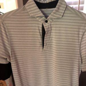 Lulu lemon men's Medium strip gray shirt